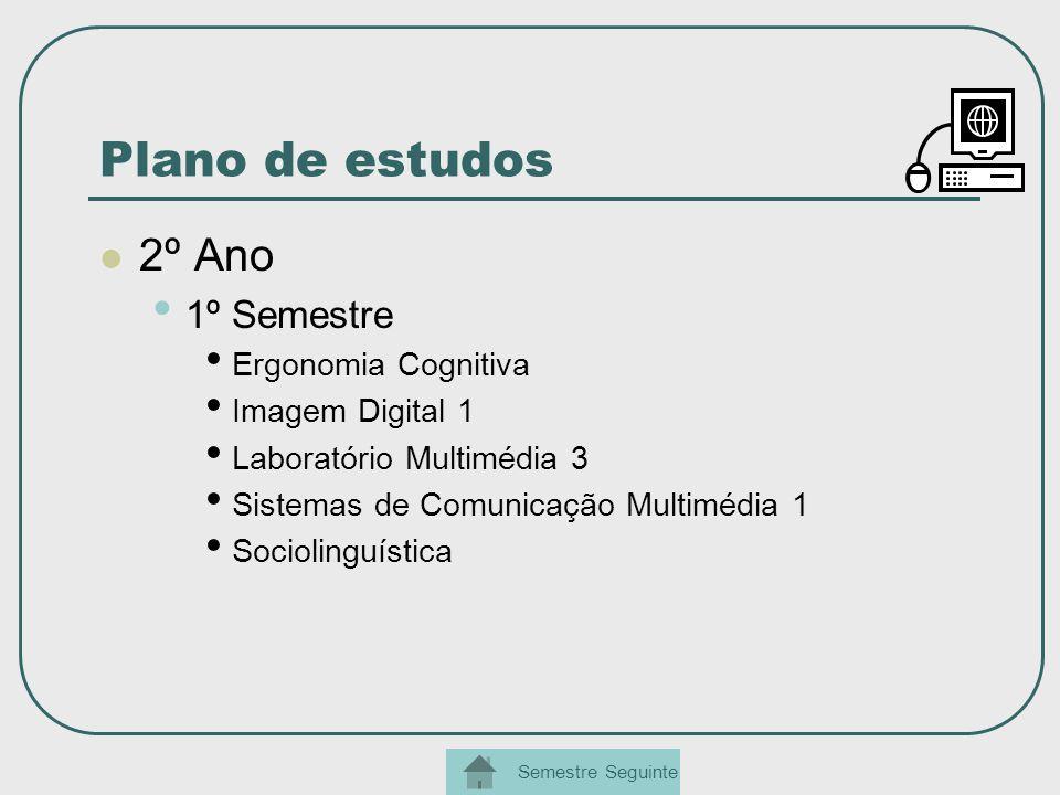 Plano de estudos 2º Ano 1º Semestre Ergonomia Cognitiva Imagem Digital 1 Laboratório Multimédia 3 Sistemas de Comunicação Multimédia 1 Sociolinguístic