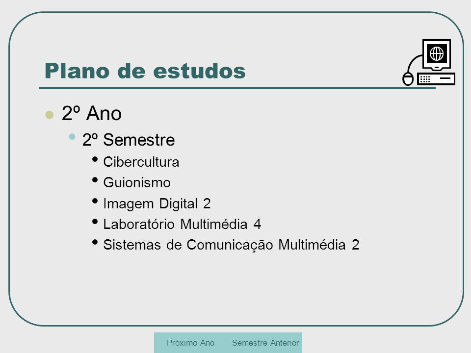 Plano de estudos 2º Ano 2º Semestre Cibercultura Guionismo Imagem Digital 2 Laboratório Multimédia 4 Sistemas de Comunicação Multimédia 2 Semestre Ant