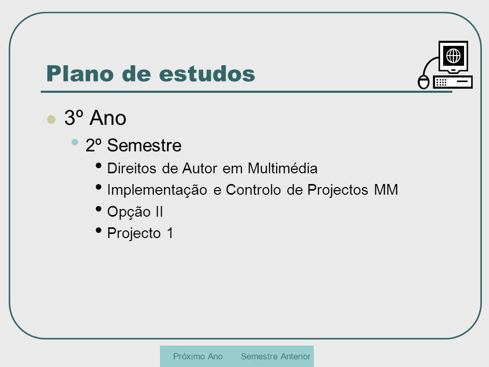 Plano de estudos 3º Ano 2º Semestre Direitos de Autor em Multimédia Implementação e Controlo de Projectos MM Opção II Projecto 1 Semestre AnteriorPróx
