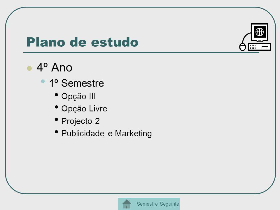 Plano de estudo 4º Ano 1º Semestre Opção III Opção Livre Projecto 2 Publicidade e Marketing Semestre Seguinte