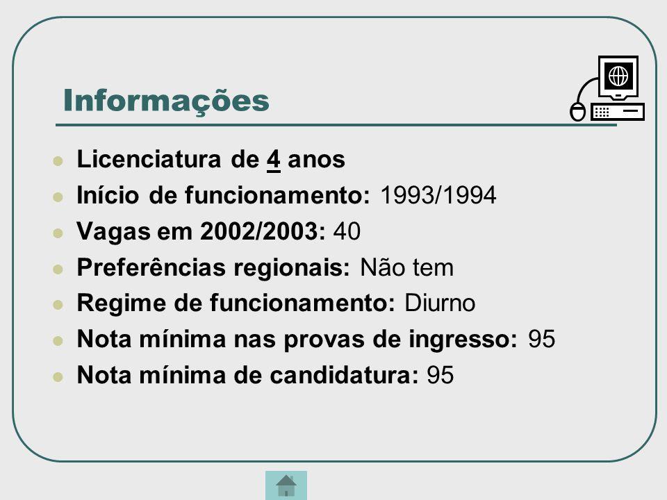 Informações Licenciatura de 4 anos Início de funcionamento: 1993/1994 Vagas em 2002/2003: 40 Preferências regionais: Não tem Regime de funcionamento:
