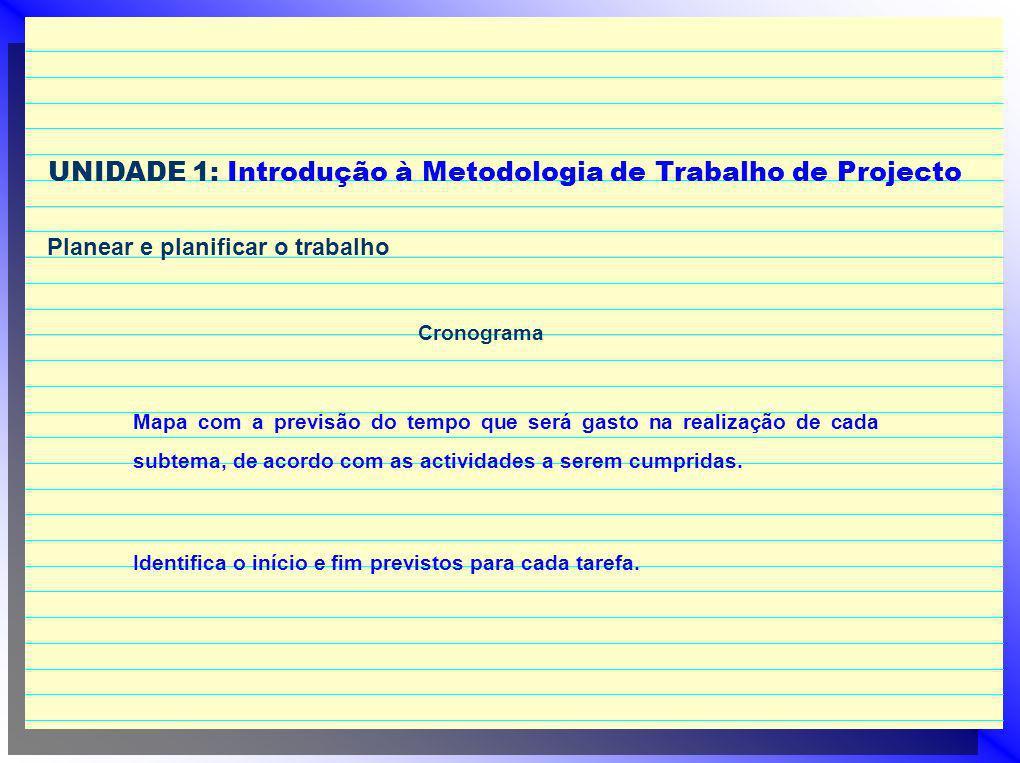 UNIDADE 1: Introdução à Metodologia de Trabalho de Projecto Planear e planificar o trabalho Cronograma Mapa com a previsão do tempo que será gasto na