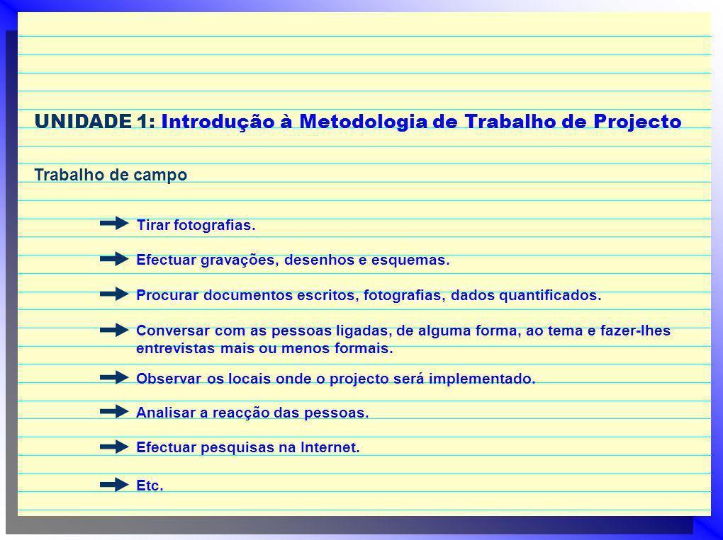 UNIDADE 1: Introdução à Metodologia de Trabalho de Projecto Trabalho de campo Tirar fotografias. Efectuar gravações, desenhos e esquemas. Procurar doc