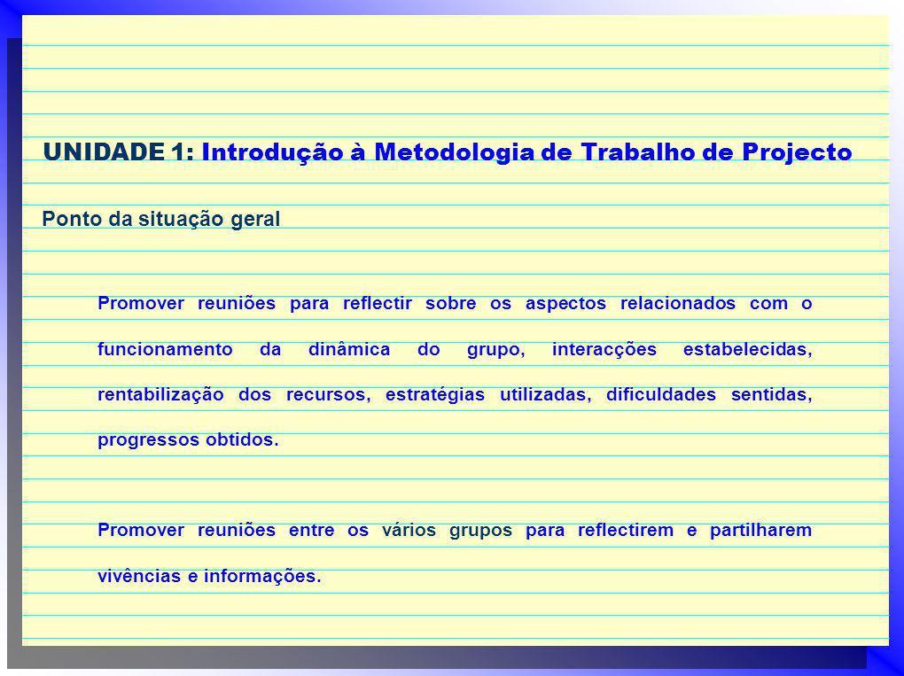 UNIDADE 1: Introdução à Metodologia de Trabalho de Projecto Ponto da situação geral Promover reuniões para reflectir sobre os aspectos relacionados co