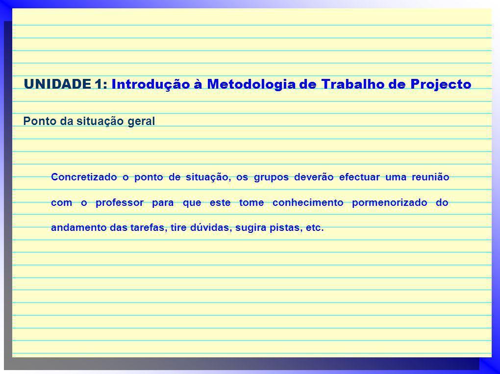 UNIDADE 1: Introdução à Metodologia de Trabalho de Projecto Ponto da situação geral Concretizado o ponto de situação, os grupos deverão efectuar uma r
