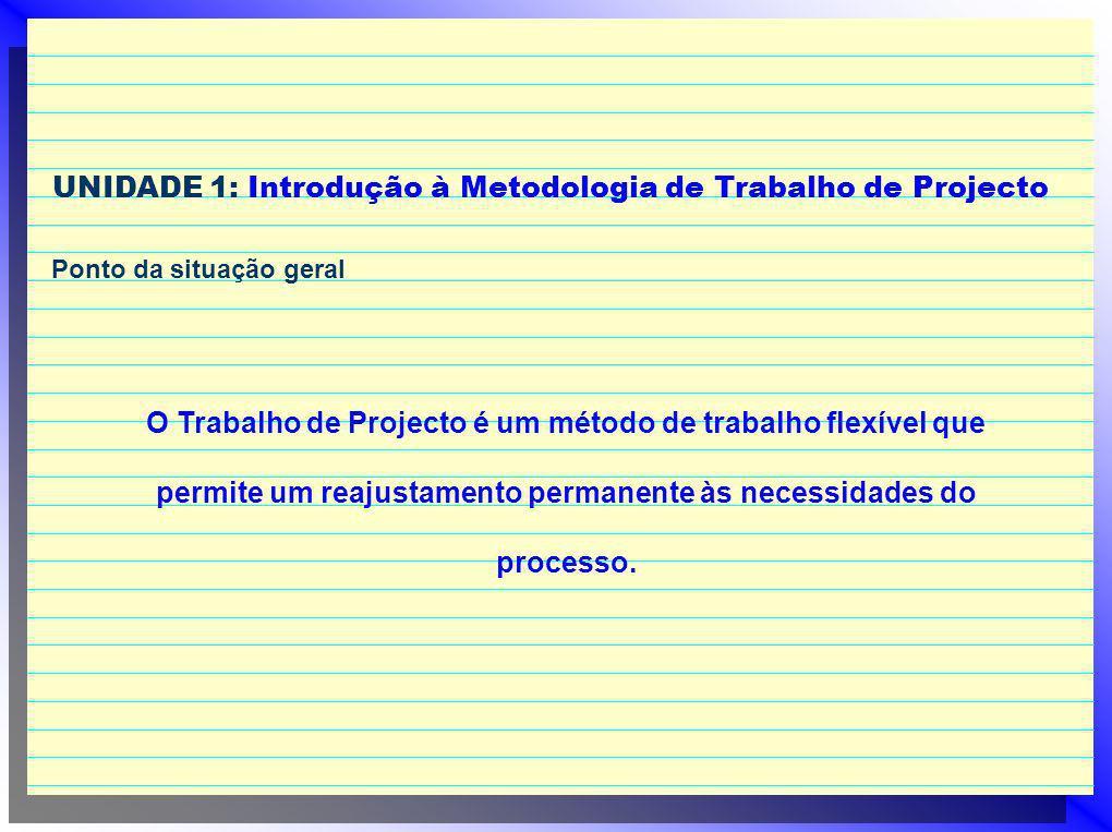 UNIDADE 1: Introdução à Metodologia de Trabalho de Projecto Ponto da situação geral O Trabalho de Projecto é um método de trabalho flexível que permite um reajustamento permanente às necessidades do processo.