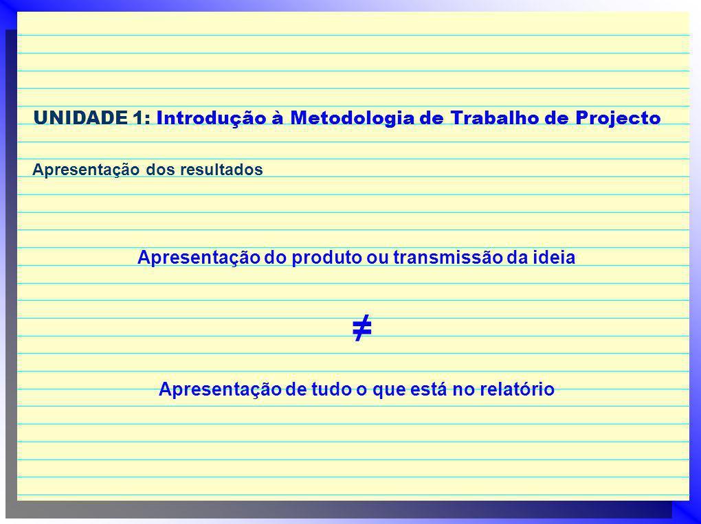 UNIDADE 1: Introdução à Metodologia de Trabalho de Projecto Apresentação dos resultados Apresentação do produto ou transmissão da ideia Apresentação d