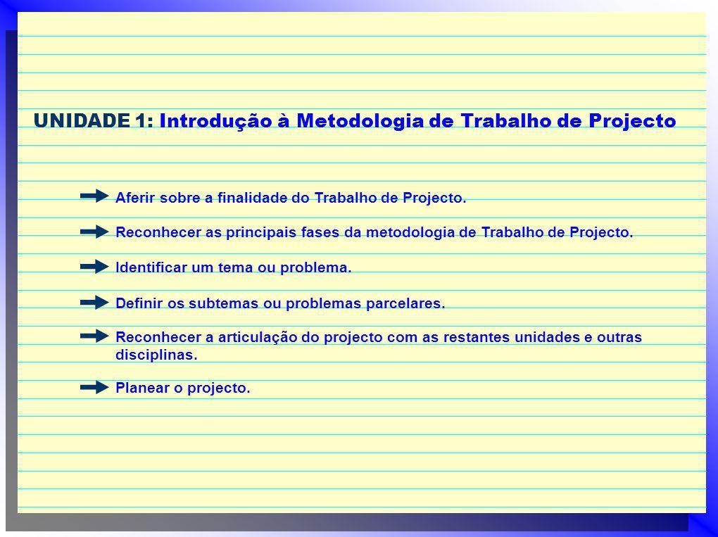 UNIDADE 1: Introdução à Metodologia de Trabalho de Projecto Aferir sobre a finalidade do Trabalho de Projecto. Reconhecer as principais fases da metod