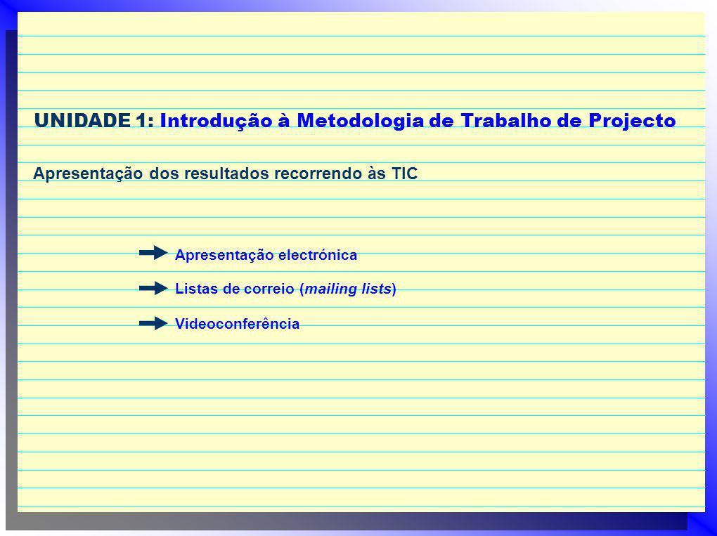 UNIDADE 1: Introdução à Metodologia de Trabalho de Projecto Apresentação dos resultados recorrendo às TIC Apresentação electrónica Listas de correio (mailing lists) Videoconferência