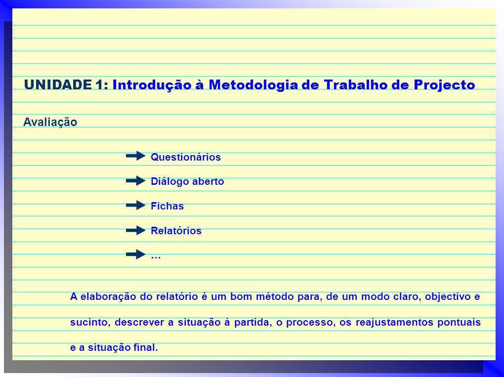 UNIDADE 1: Introdução à Metodologia de Trabalho de Projecto Avaliação A elaboração do relatório é um bom método para, de um modo claro, objectivo e su