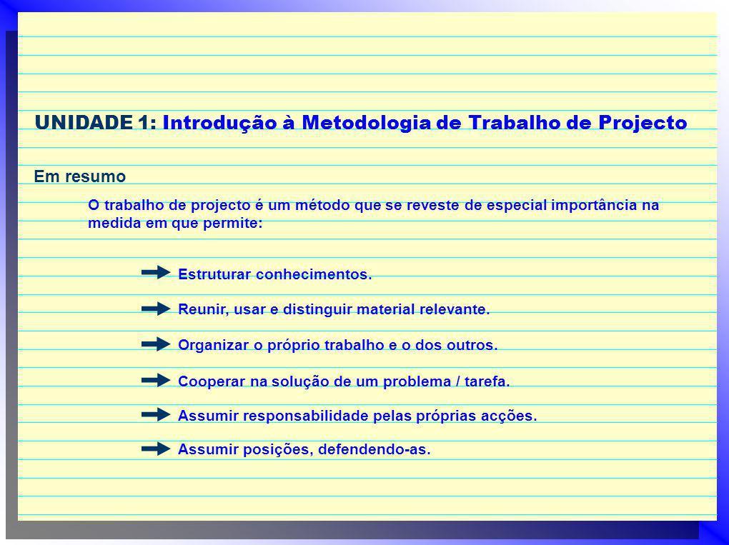 UNIDADE 1: Introdução à Metodologia de Trabalho de Projecto Em resumo O trabalho de projecto é um método que se reveste de especial importância na med