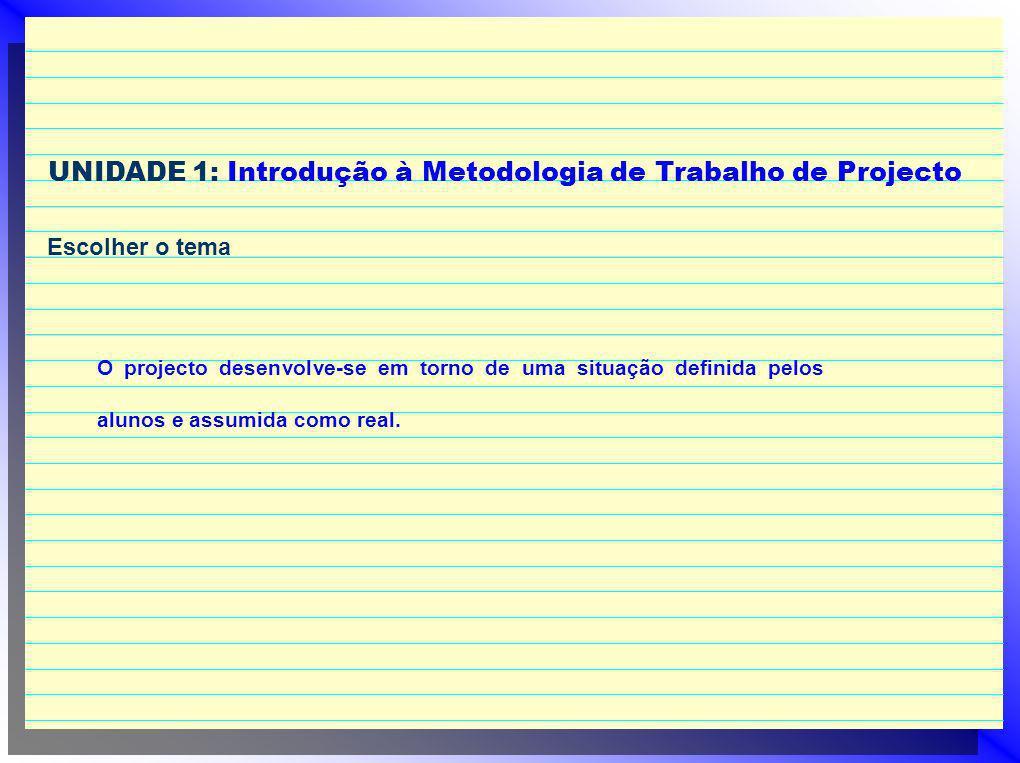 UNIDADE 1: Introdução à Metodologia de Trabalho de Projecto Escolher o tema O projecto desenvolve-se em torno de uma situação definida pelos alunos e