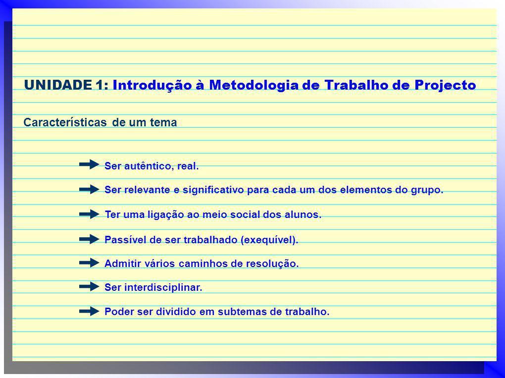 UNIDADE 1: Introdução à Metodologia de Trabalho de Projecto Características de um tema Ser autêntico, real. Ser relevante e significativo para cada um