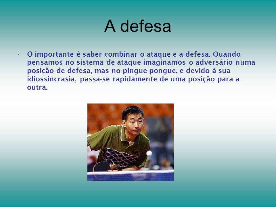 A defesa O importante é saber combinar o ataque e a defesa. Quando pensamos no sistema de ataque imaginamos o adversário numa posição de defesa, mas n