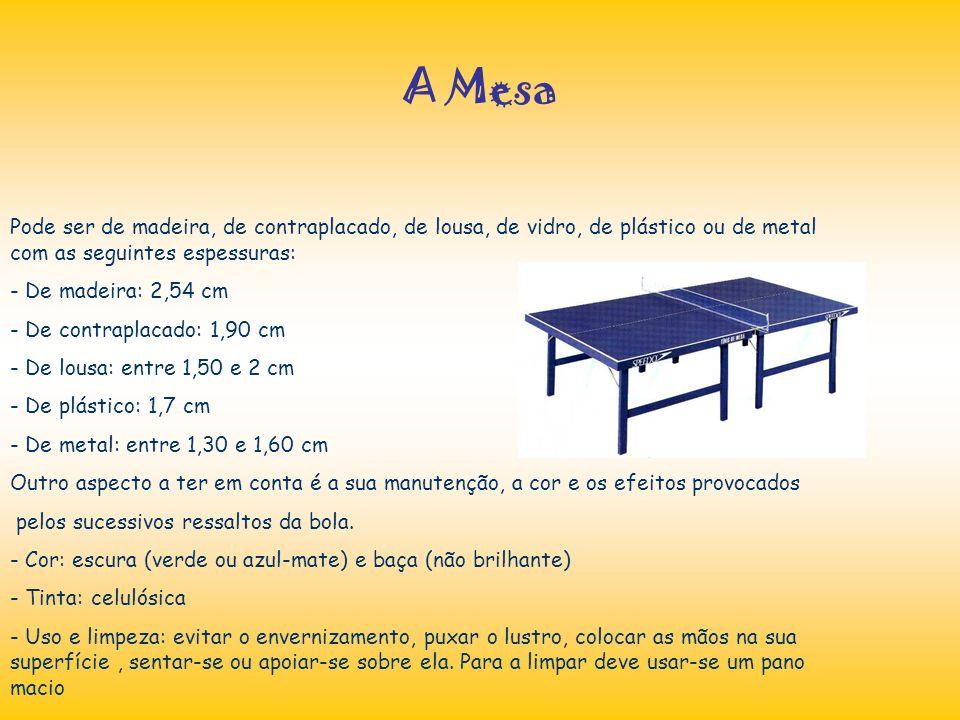 A Mesa Pode ser de madeira, de contraplacado, de lousa, de vidro, de plástico ou de metal com as seguintes espessuras: - De madeira: 2,54 cm - De cont