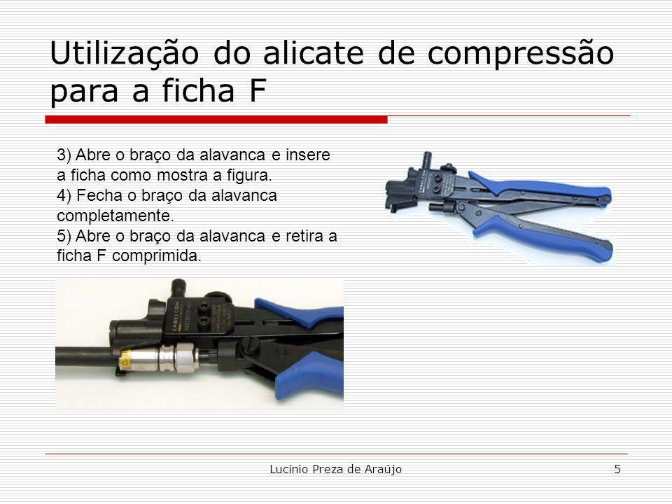 Lucínio Preza de Araújo5 Utilização do alicate de compressão para a ficha F 3) Abre o braço da alavanca e insere a ficha como mostra a figura. 4) Fech