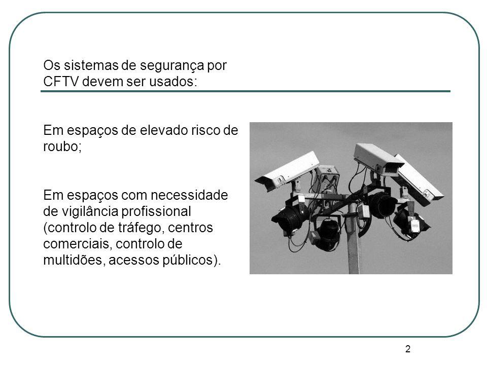2 Os sistemas de segurança por CFTV devem ser usados: Em espaços de elevado risco de roubo; Em espaços com necessidade de vigilância profissional (controlo de tráfego, centros comerciais, controlo de multidões, acessos públicos).