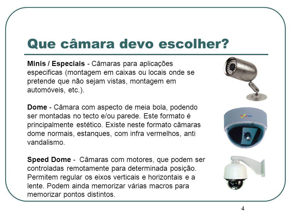 4 Que câmara devo escolher? Minis / Especiais - Câmaras para aplicações especificas (montagem em caixas ou locais onde se pretende que não sejam vista
