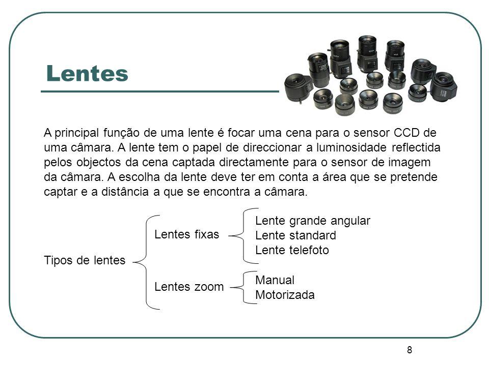 8 Lentes A principal função de uma lente é focar uma cena para o sensor CCD de uma câmara. A lente tem o papel de direccionar a luminosidade reflectid