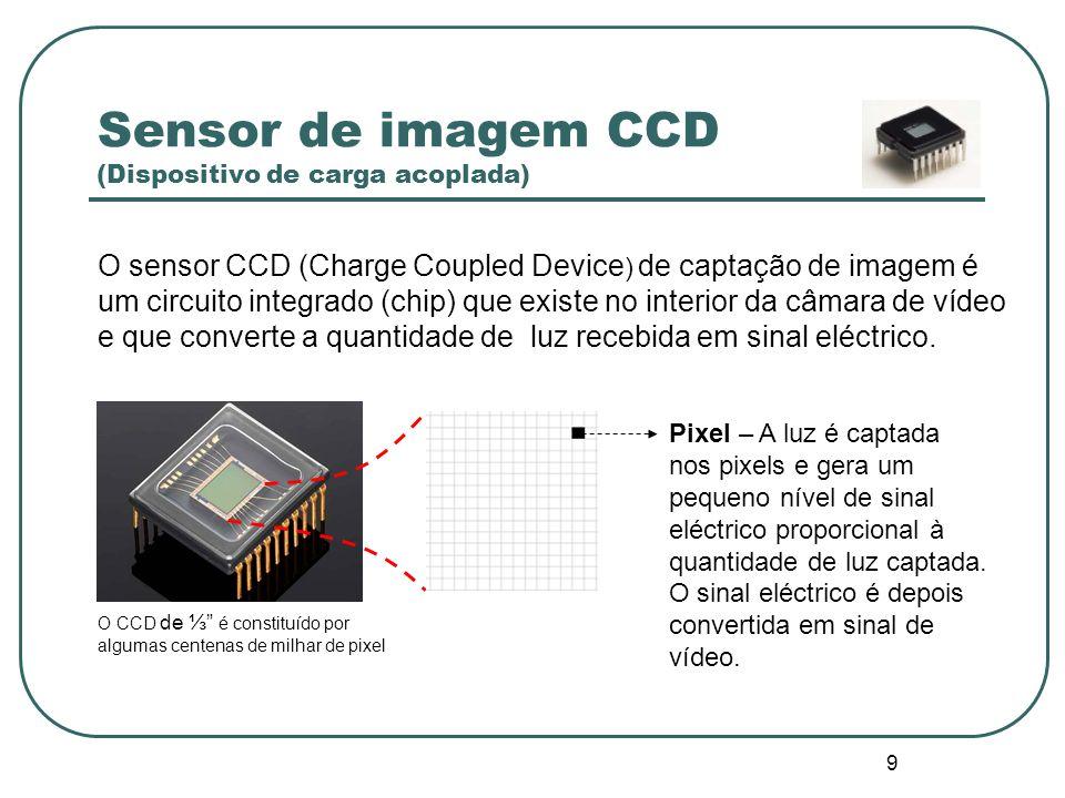 9 Sensor de imagem CCD (Dispositivo de carga acoplada) O sensor CCD (Charge Coupled Device ) de captação de imagem é um circuito integrado (chip) que existe no interior da câmara de vídeo e que converte a quantidade de luz recebida em sinal eléctrico.