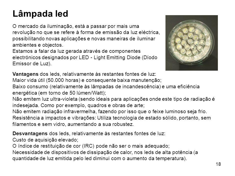 18 Lâmpada led O mercado da iluminação, está a passar por mais uma revolução no que se refere à forma de emissão da luz eléctrica, possibilitando nova