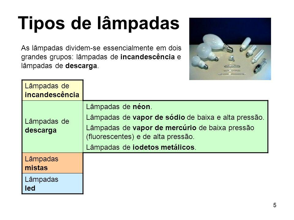 5 Tipos de lâmpadas As lâmpadas dividem-se essencialmente em dois grandes grupos: lâmpadas de incandescência e lâmpadas de descarga. Lâmpadas de incan