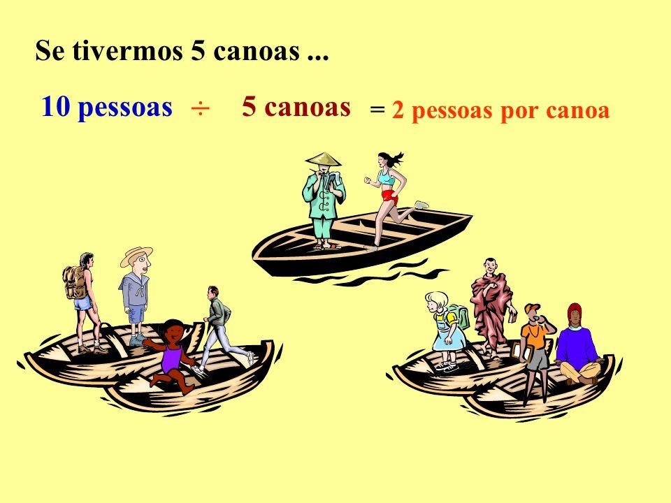 Se tivermos 5 canoas... 10 pessoas ÷ 5 canoas = 2 pessoas por canoa