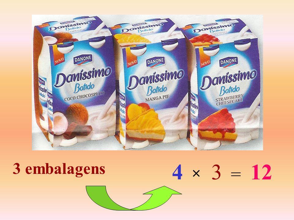 Então: 1 embalagem 2 embalagens 3 embalagens 4 iogurtes 8 iogurtes 12 iogurtes...