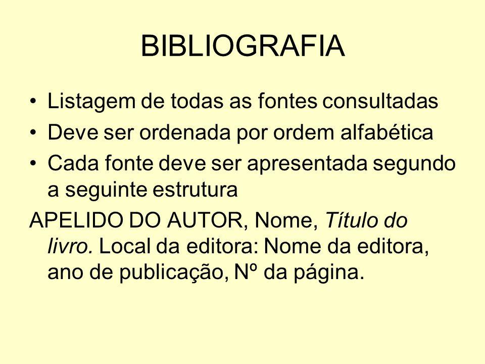 BIBLIOGRAFIA Listagem de todas as fontes consultadas Deve ser ordenada por ordem alfabética Cada fonte deve ser apresentada segundo a seguinte estrutu