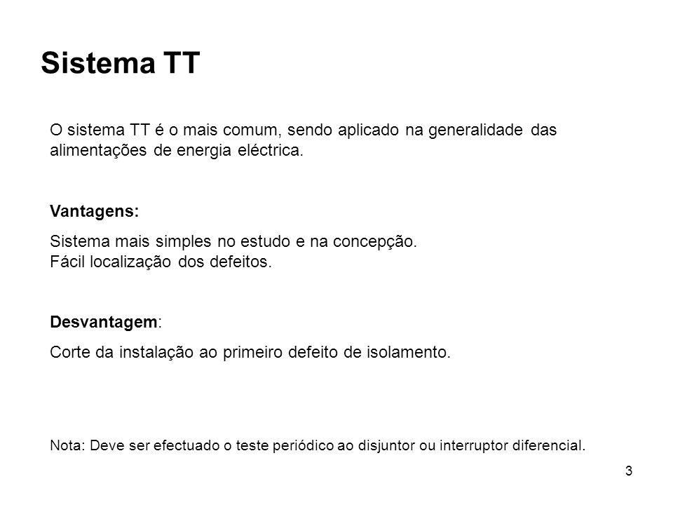 3 Sistema TT O sistema TT é o mais comum, sendo aplicado na generalidade das alimentações de energia eléctrica. Vantagens: Sistema mais simples no est