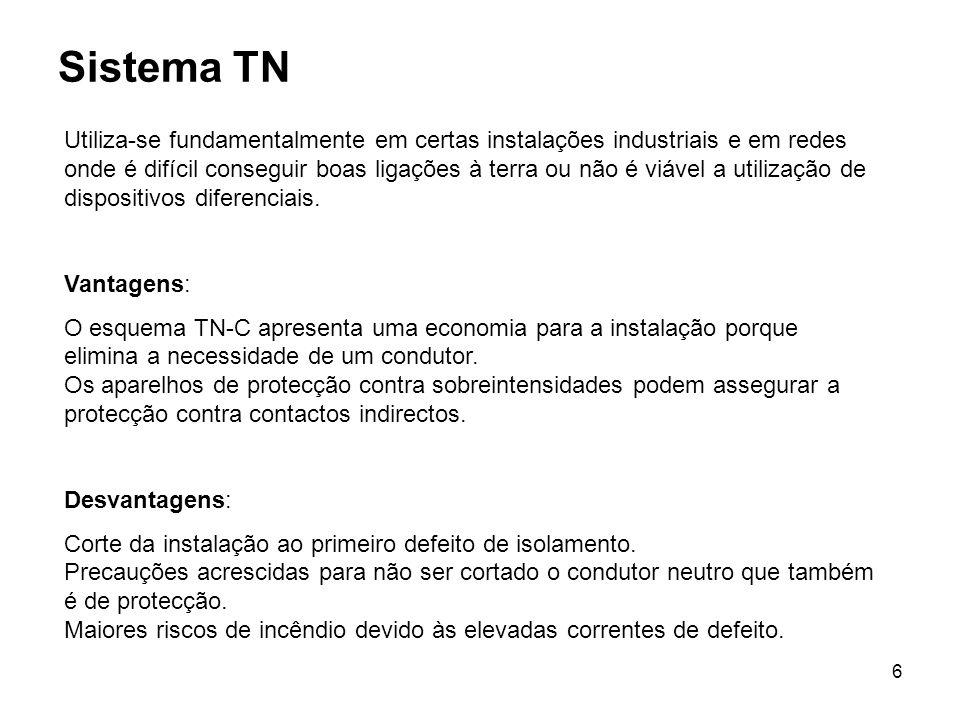 6 Sistema TN Utiliza-se fundamentalmente em certas instalações industriais e em redes onde é difícil conseguir boas ligações à terra ou não é viável a