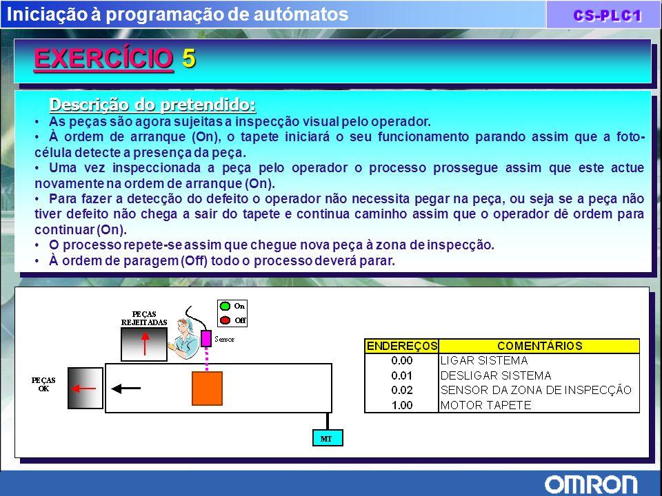 Iniciação à programação de autómatos EXERCÍCIO 5 EXERCÍCIO 5 Descrição do pretendido: As peças são agora sujeitas a inspecção visual pelo operador. À