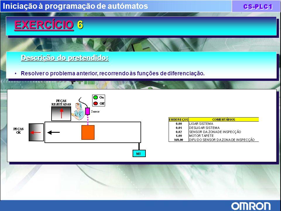 Iniciação à programação de autómatos EXERCÍCIO 6 EXERCÍCIO 6 Descrição do pretendido: Resolver o problema anterior, recorrendo às funções de diferenci