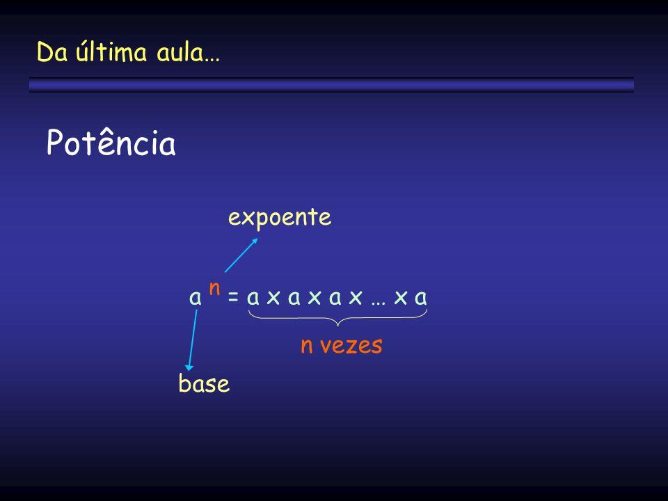 Potência a n = a x a x a x … x a n vezes base expoente Da última aula…