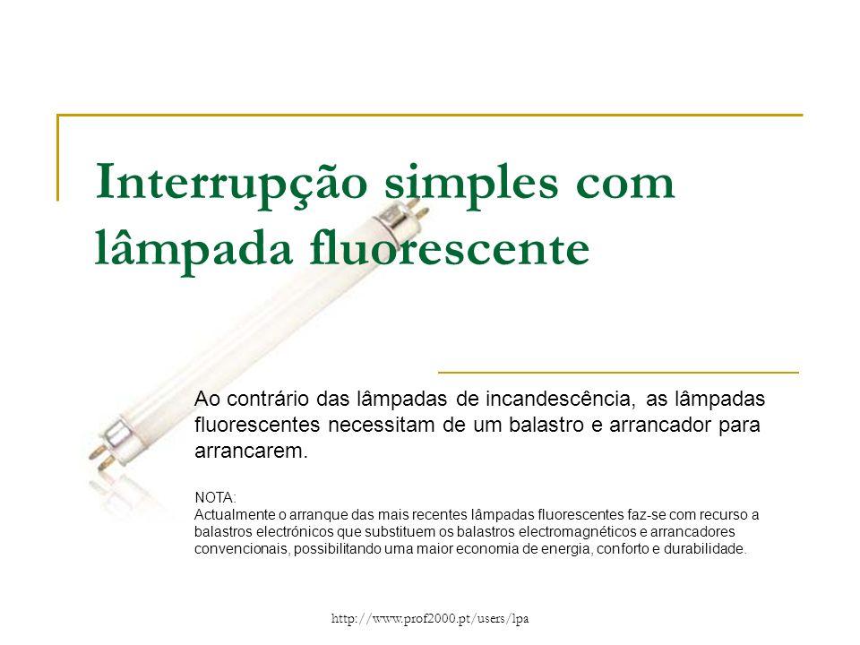 http://www.prof2000.pt/users/lpa Interrupção simples com lâmpada fluorescente Ao contrário das lâmpadas de incandescência, as lâmpadas fluorescentes n