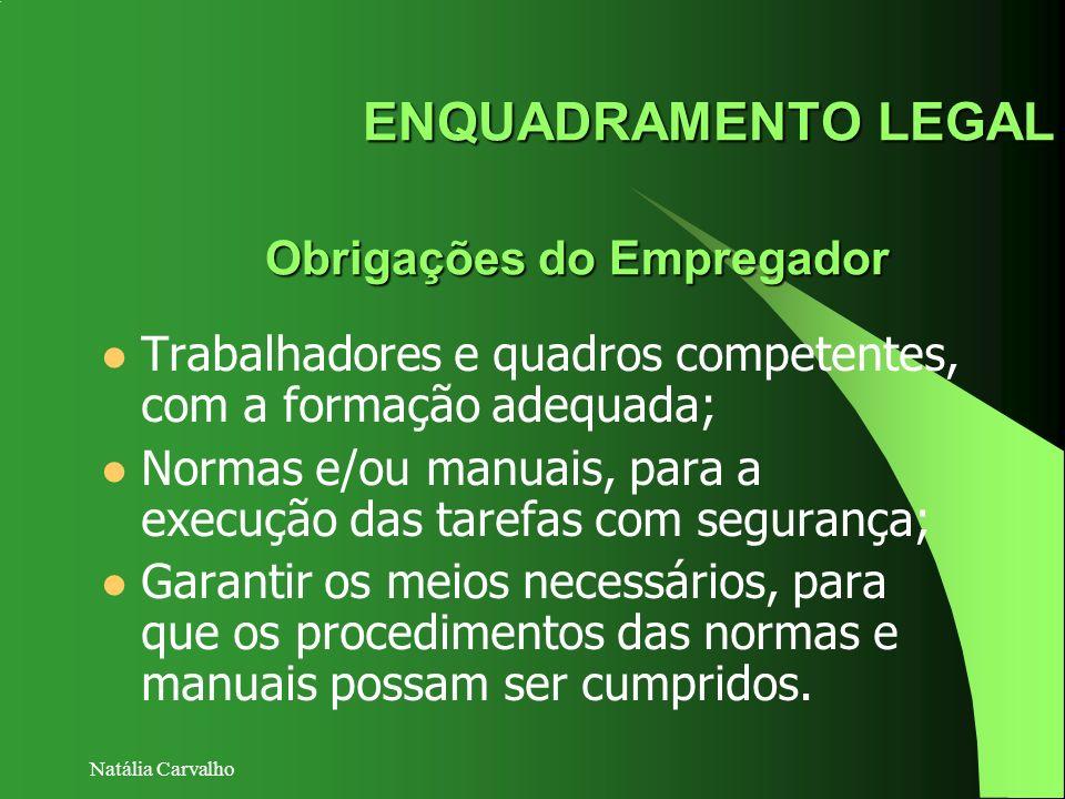 Natália Carvalho ENQUADRAMENTO LEGAL Obrigações do Empregador Trabalhadores e quadros competentes, com a formação adequada; Normas e/ou manuais, para