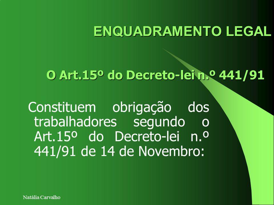 Natália Carvalho ENQUADRAMENTO LEGAL Constituem obrigação dos trabalhadores segundo o Art.15º do Decreto-lei n.º 441/91 de 14 de Novembro: O Art.15º d