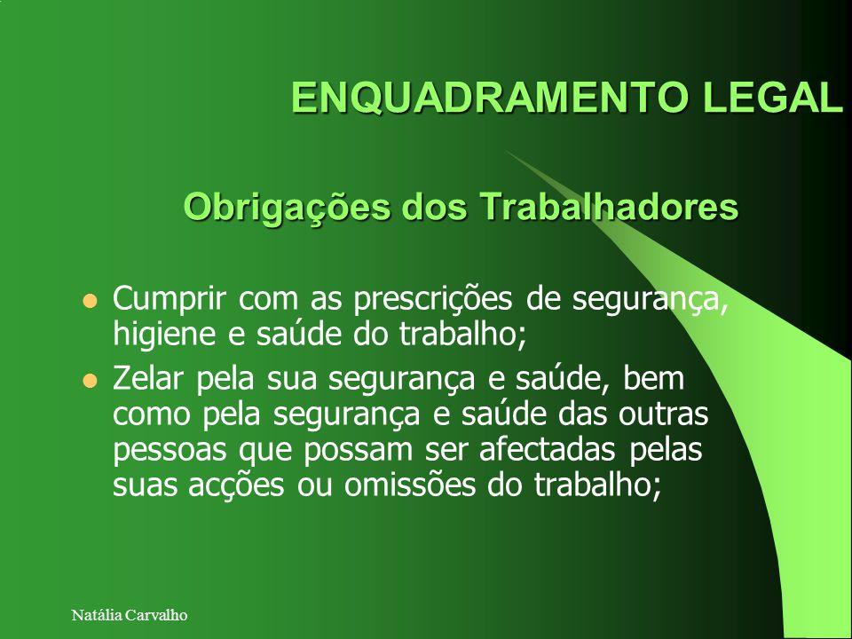 Natália Carvalho ENQUADRAMENTO LEGAL Obrigações dos Trabalhadores Cumprir com as prescrições de segurança, higiene e saúde do trabalho; Zelar pela sua