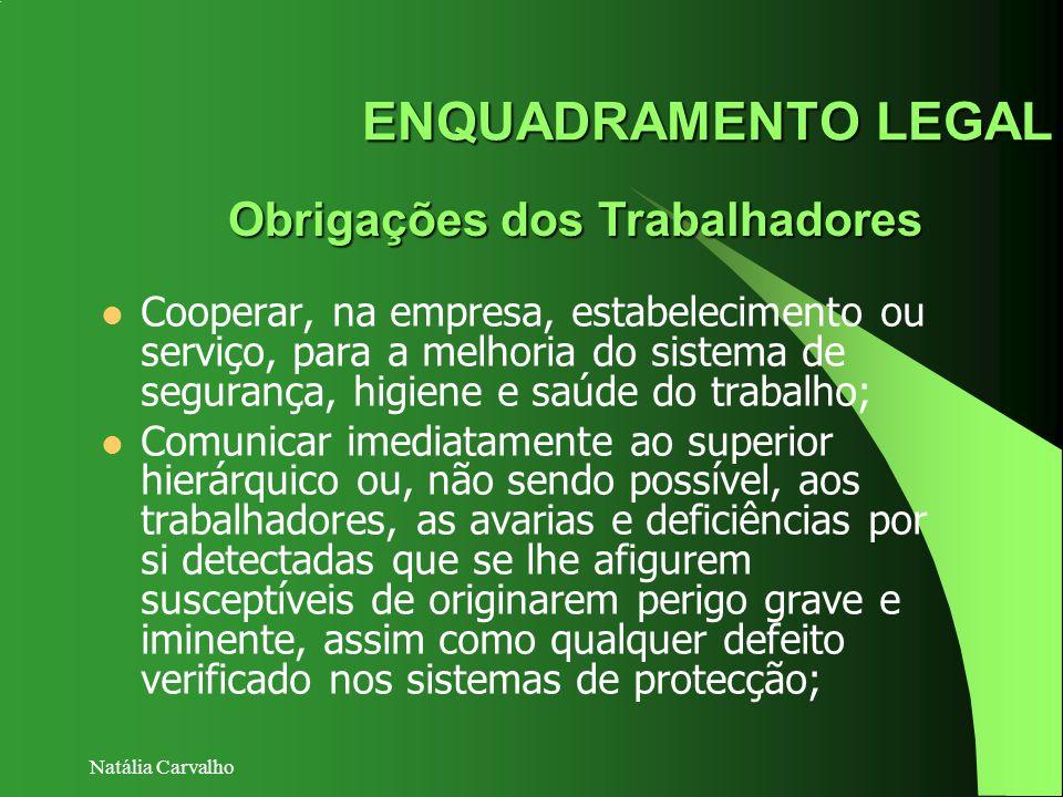 Natália Carvalho ENQUADRAMENTO LEGAL Obrigações dos Trabalhadores Cooperar, na empresa, estabelecimento ou serviço, para a melhoria do sistema de segu