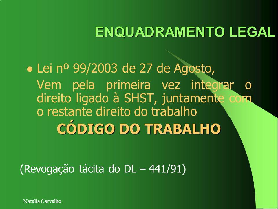 Natália Carvalho ENQUADRAMENTO LEGAL Lei nº 99/2003 de 27 de Agosto, Vem pela primeira vez integrar o direito ligado à SHST, juntamente com o restante