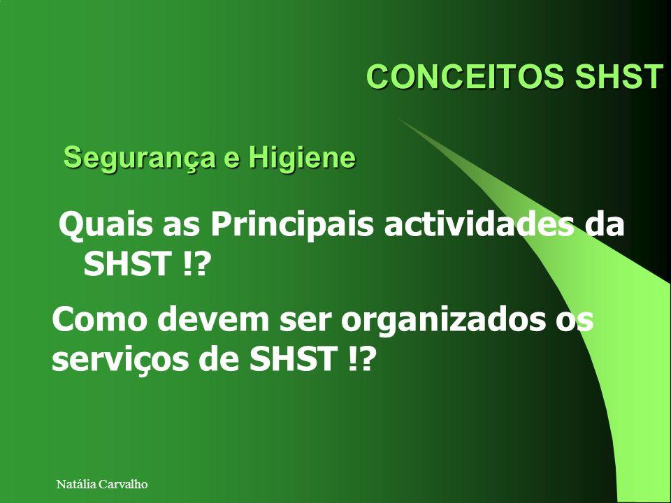 Natália Carvalho CONCEITOS SHST Quais as Principais actividades da SHST !? Segurança e Higiene Como devem ser organizados os serviços de SHST !?