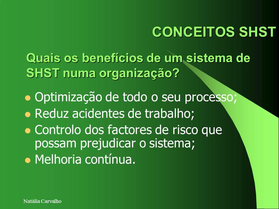 Natália Carvalho CONCEITOS SHST Optimização de todo o seu processo; Reduz acidentes de trabalho; Controlo dos factores de risco que possam prejudicar