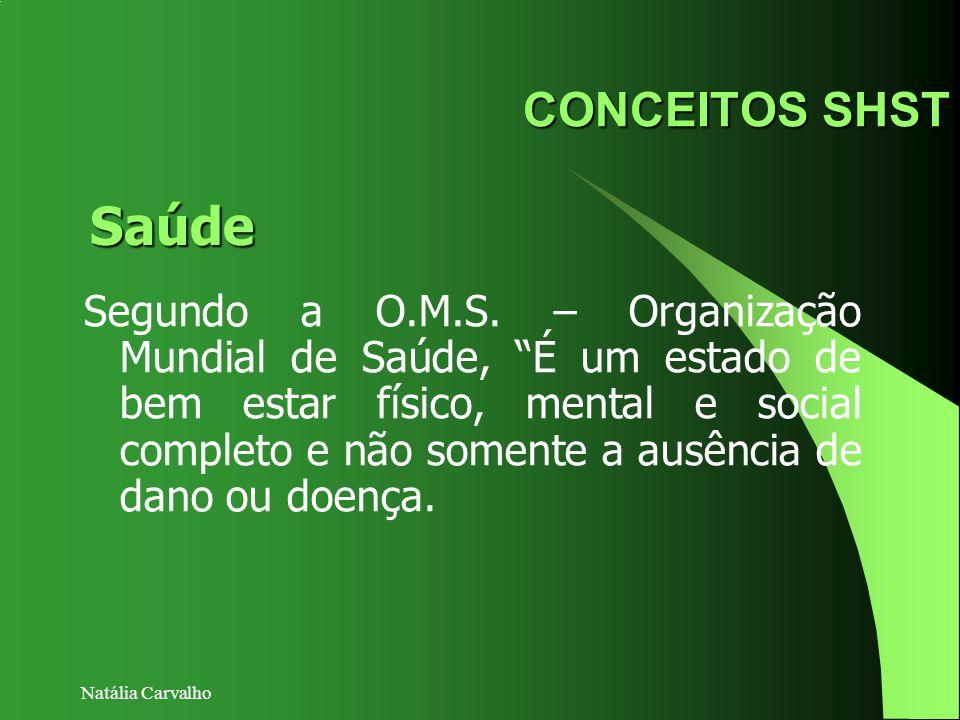 Natália Carvalho CONCEITOS SHST Segundo a O.M.S. – Organização Mundial de Saúde, É um estado de bem estar físico, mental e social completo e não somen