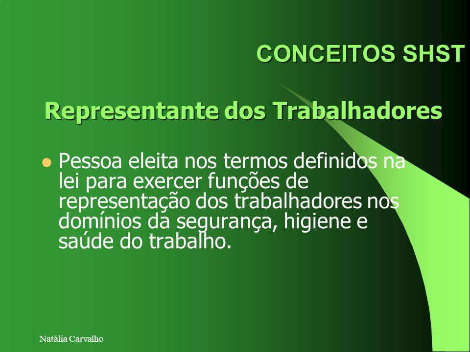 Natália Carvalho CONCEITOS SHST Pessoa eleita nos termos definidos na lei para exercer funções de representação dos trabalhadores nos domínios da segu