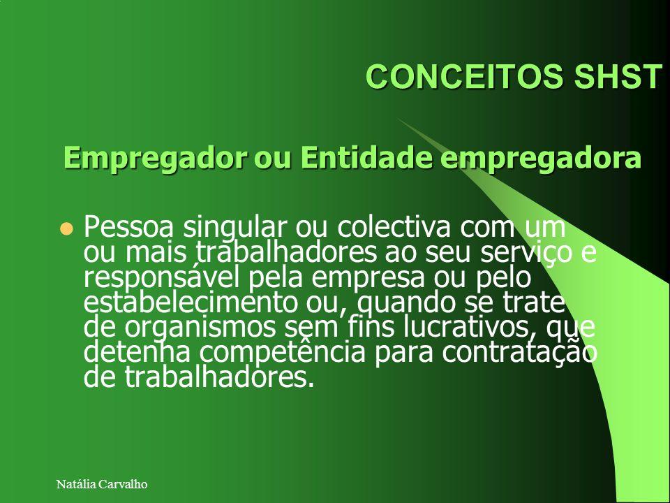 Natália Carvalho CONCEITOS SHST Pessoa singular ou colectiva com um ou mais trabalhadores ao seu serviço e responsável pela empresa ou pelo estabeleci