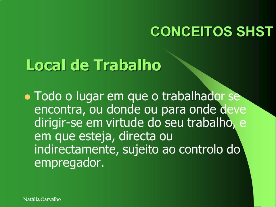 Natália Carvalho CONCEITOS SHST Todo o lugar em que o trabalhador se encontra, ou donde ou para onde deve dirigir-se em virtude do seu trabalho, e em