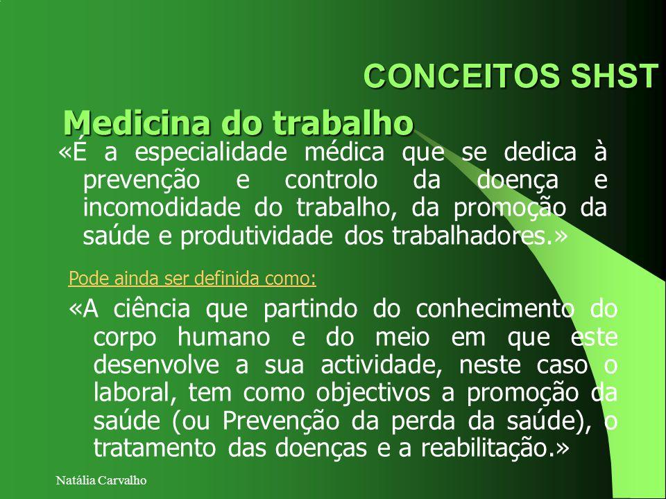 Natália Carvalho CONCEITOS SHST «É a especialidade médica que se dedica à prevenção e controlo da doença e incomodidade do trabalho, da promoção da sa