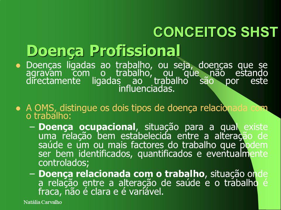 Natália Carvalho CONCEITOS SHST Doenças ligadas ao trabalho, ou seja, doenças que se agravam com o trabalho, ou que não estando directamente ligadas a