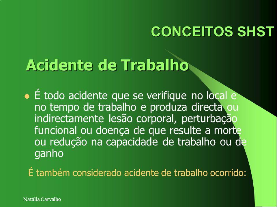 Natália Carvalho CONCEITOS SHST É todo acidente que se verifique no local e no tempo de trabalho e produza directa ou indirectamente lesão corporal, p