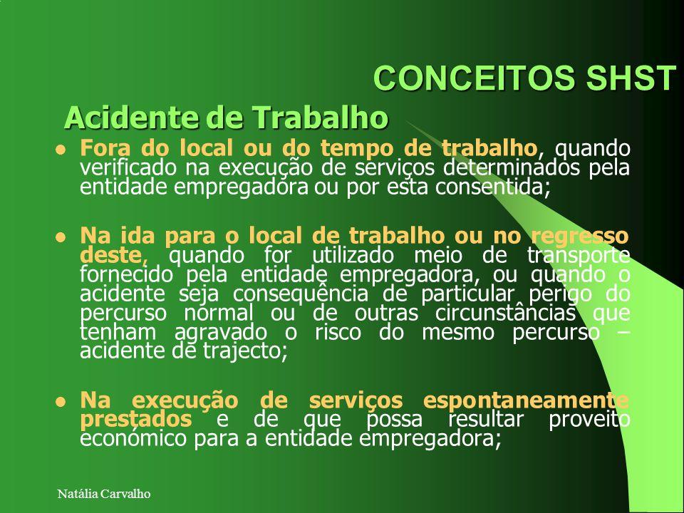 Natália Carvalho CONCEITOS SHST Fora do local ou do tempo de trabalho, quando verificado na execução de serviços determinados pela entidade empregador
